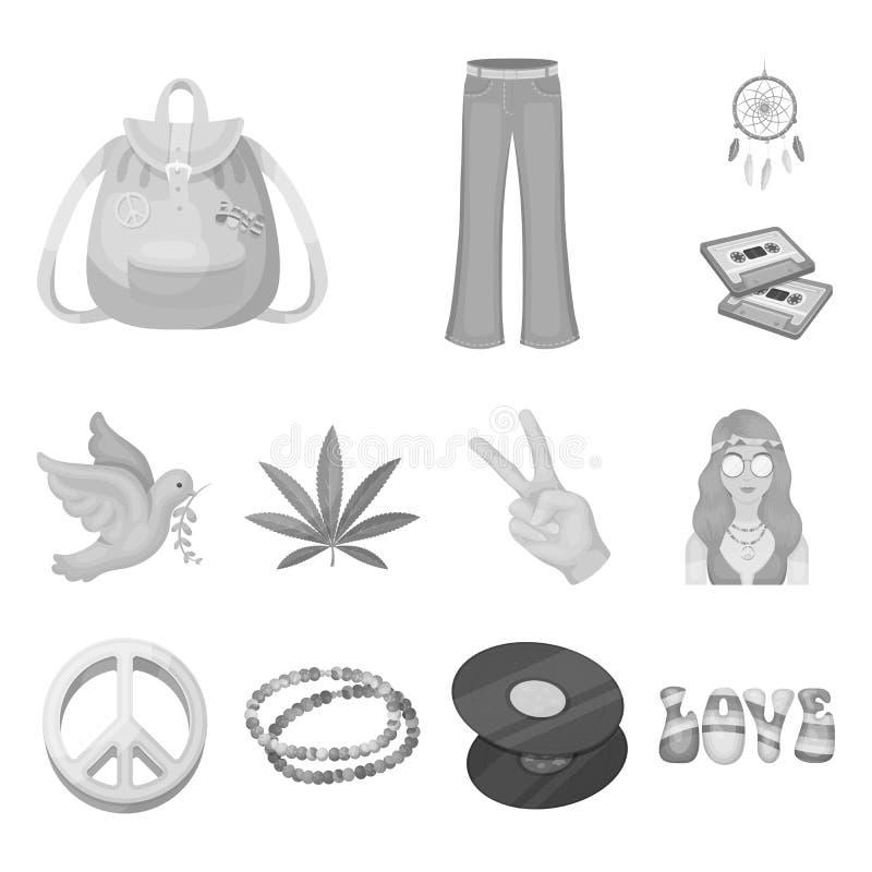 Icone monocromatiche di attributo e felici nella raccolta dell'insieme per progettazione Web degli accessori e felice di vettore  illustrazione di stock