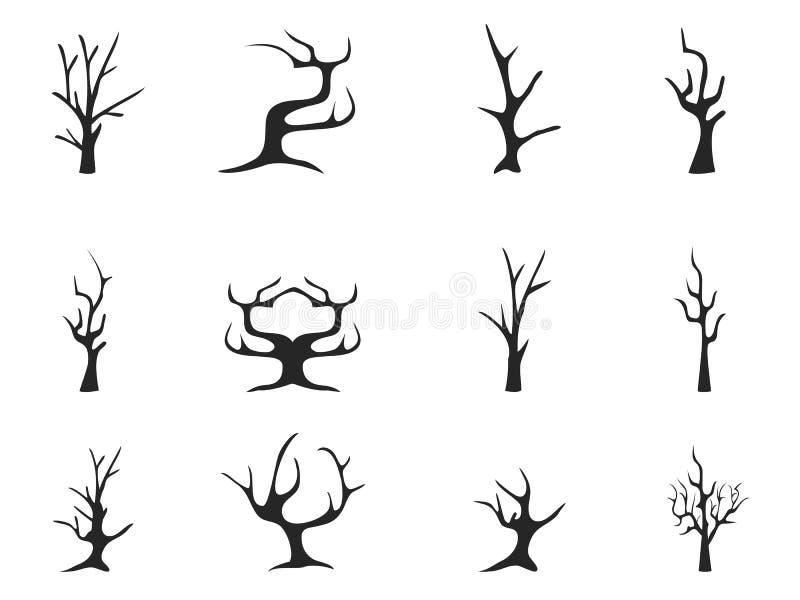 Icone morte nere dell'albero royalty illustrazione gratis