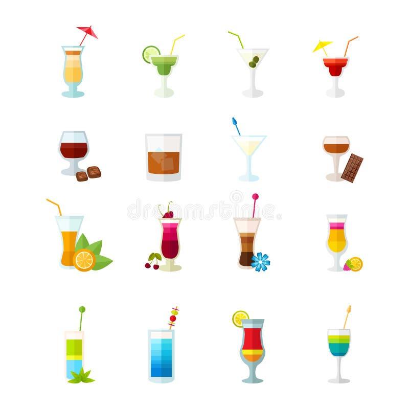 Icone multicolori del cocktail messe illustrazione di stock
