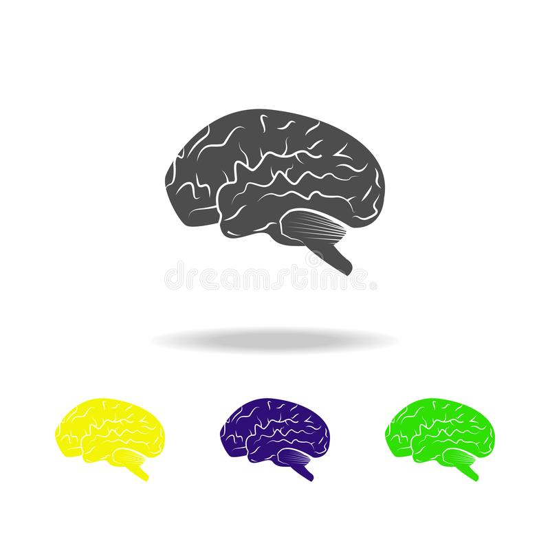 icone multicolori dell'organo del cervello umano Elemento delle icone multicolori delle parti del corpo Segni ed icona della racc illustrazione di stock
