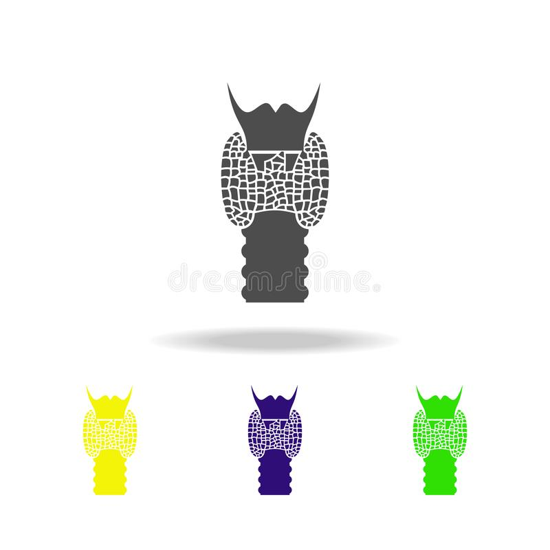 icone multicolori dell'organo umano della gola Elemento delle icone multicolori delle parti del corpo Segni ed icona per i siti W illustrazione vettoriale