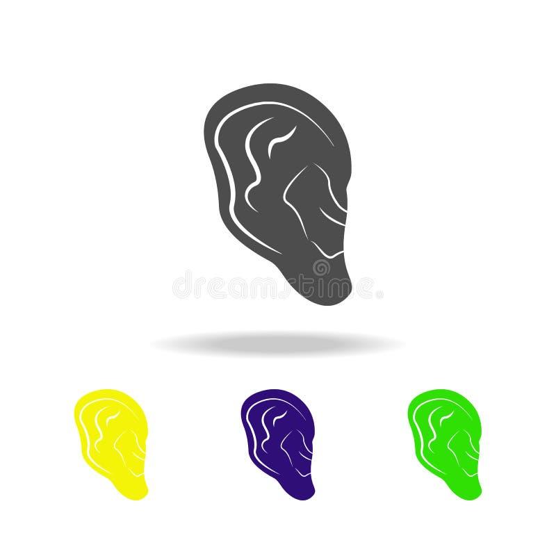 icone multicolori dell'organo umano dell'orecchio Elemento delle icone multicolori delle parti del corpo Segni ed icona per i sit illustrazione vettoriale