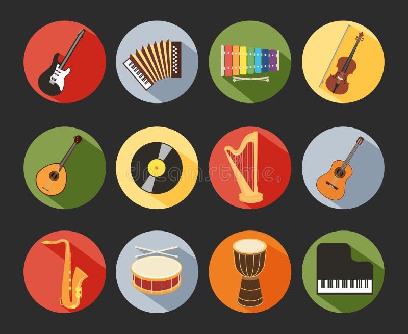 Icone musicali piane royalty illustrazione gratis