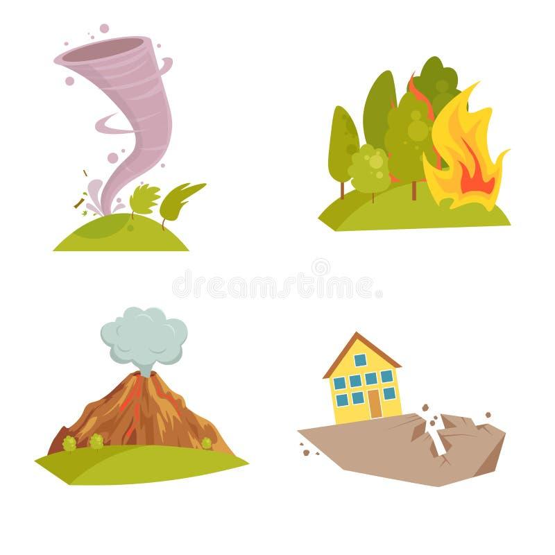 Icone naturali di cataclisma messe Onda di Tsunami, turbinio di tornado, meteorite della fiamma, eruzione del vulcano, tempesta d illustrazione vettoriale