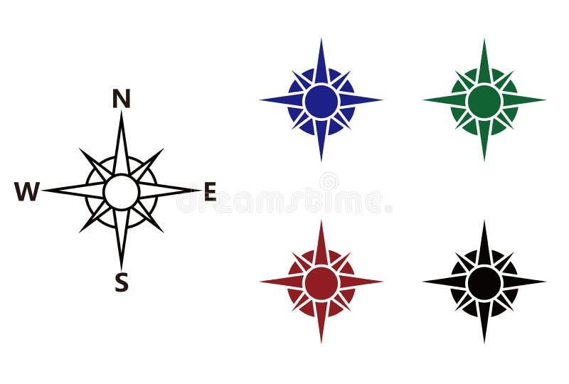 Icone nautiche della bussola e della rosa dei venti illustrazione di stock