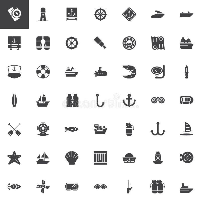 Icone nautiche di vettore messe illustrazione vettoriale