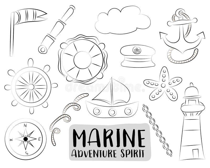 Icone nautiche marine di viaggio messe Oggetti disegnati a mano in bianco e nero di scarabocchio del profilo La pagina di colorit illustrazione di stock