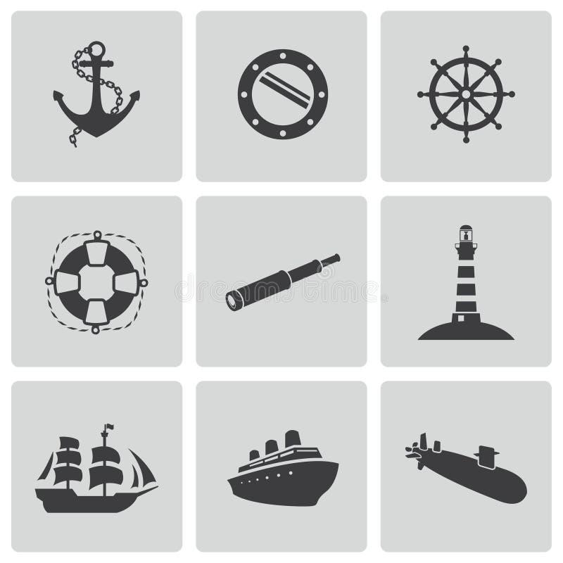 Icone nautiche nere di vettore messe illustrazione di stock