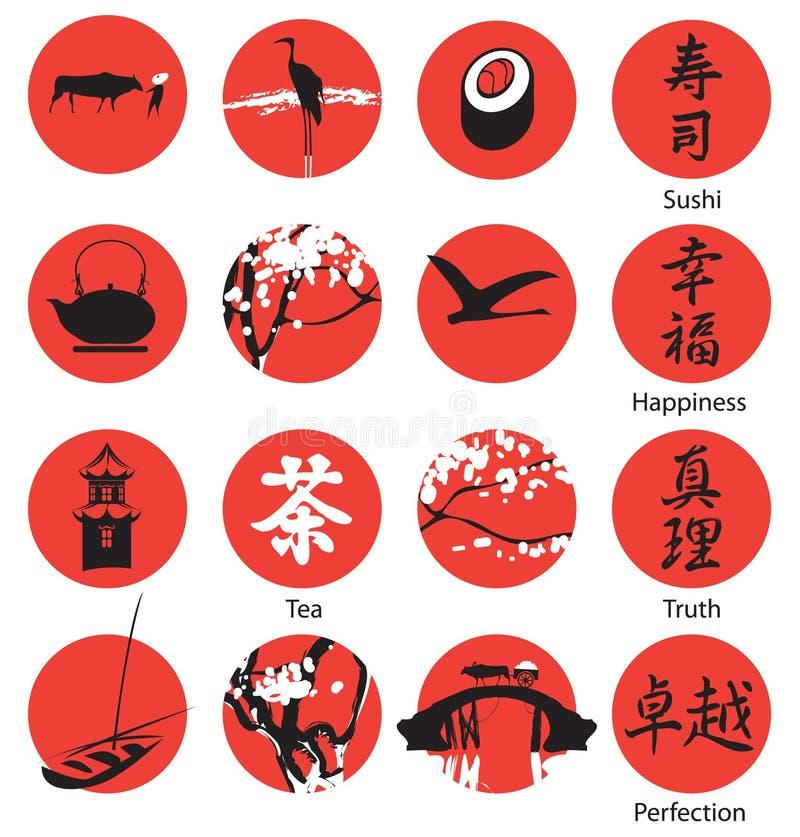 Icone nello stile orientale illustrazione di stock