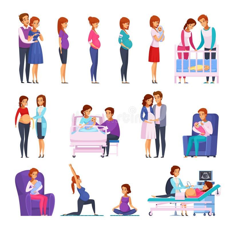 Icone neonate del fumetto di gravidanza messe illustrazione di stock