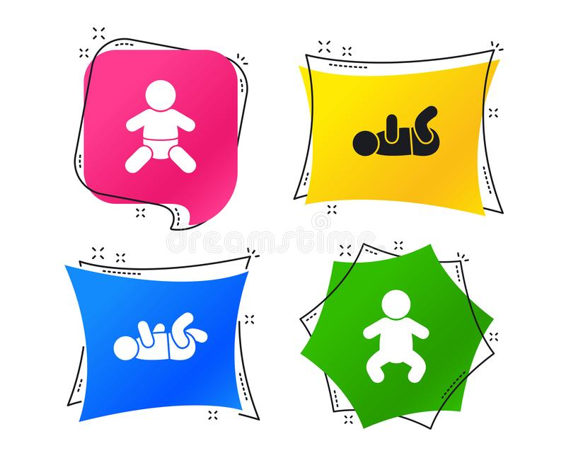 Icone neonate Simboli degli infanti del bambino Vettore illustrazione di stock