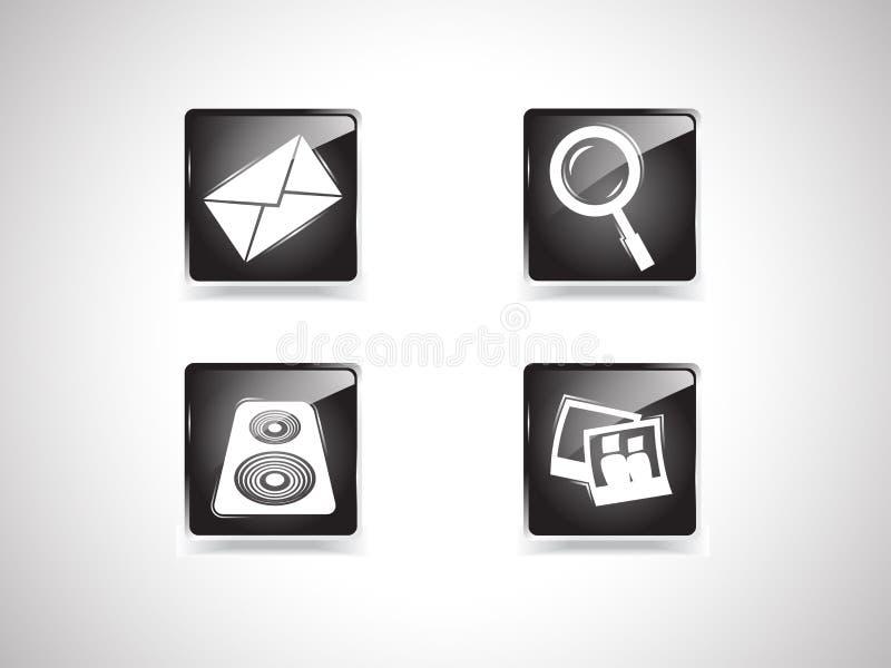 4 icone nere: busta, lente d'ingrandimento, musica, foto fotografia stock libera da diritti