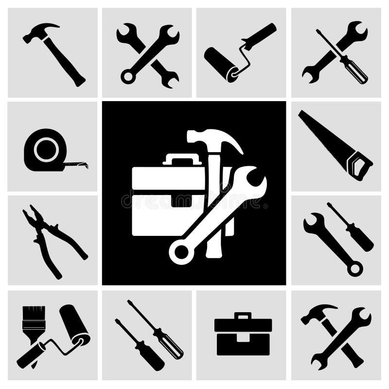 Icone nere degli strumenti del carpentiere messe royalty illustrazione gratis