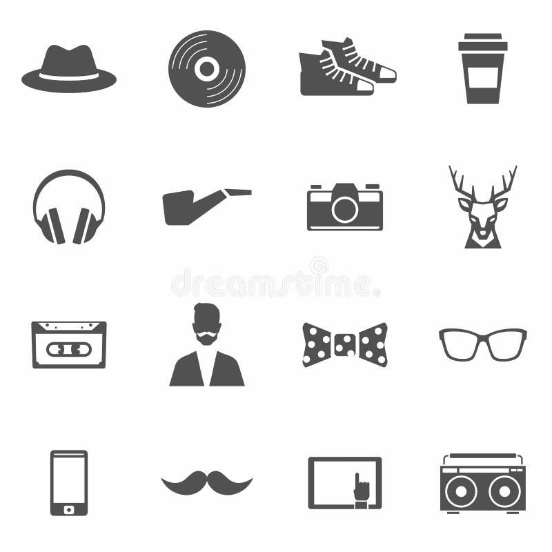 Icone nere dei pantaloni a vita bassa messe illustrazione di stock