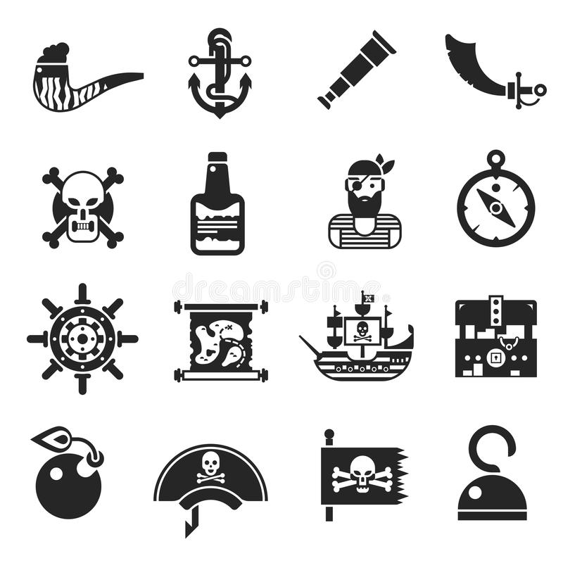 Icone nere dei pirati messe illustrazione vettoriale