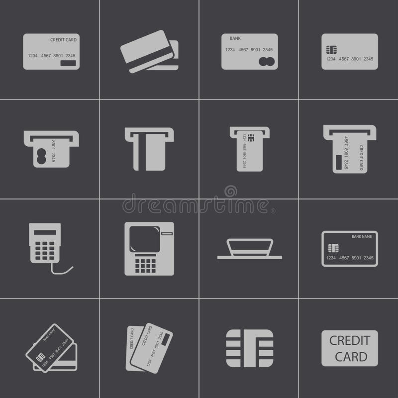Icone nere del carretto di credito di vettore messe illustrazione di stock