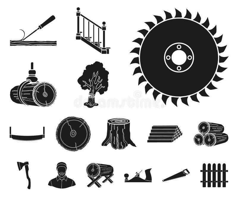 Icone nere del legname e della segheria nella raccolta dell'insieme per progettazione L'hardware e gli strumenti vector l'illustr illustrazione vettoriale