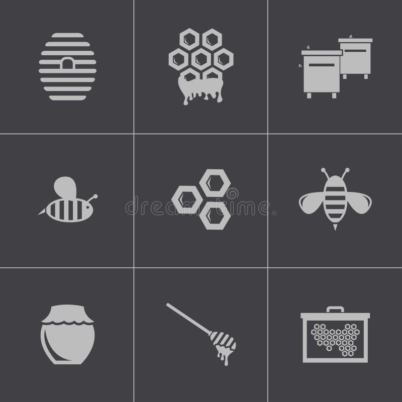 Icone nere del miele di vettore messe illustrazione vettoriale