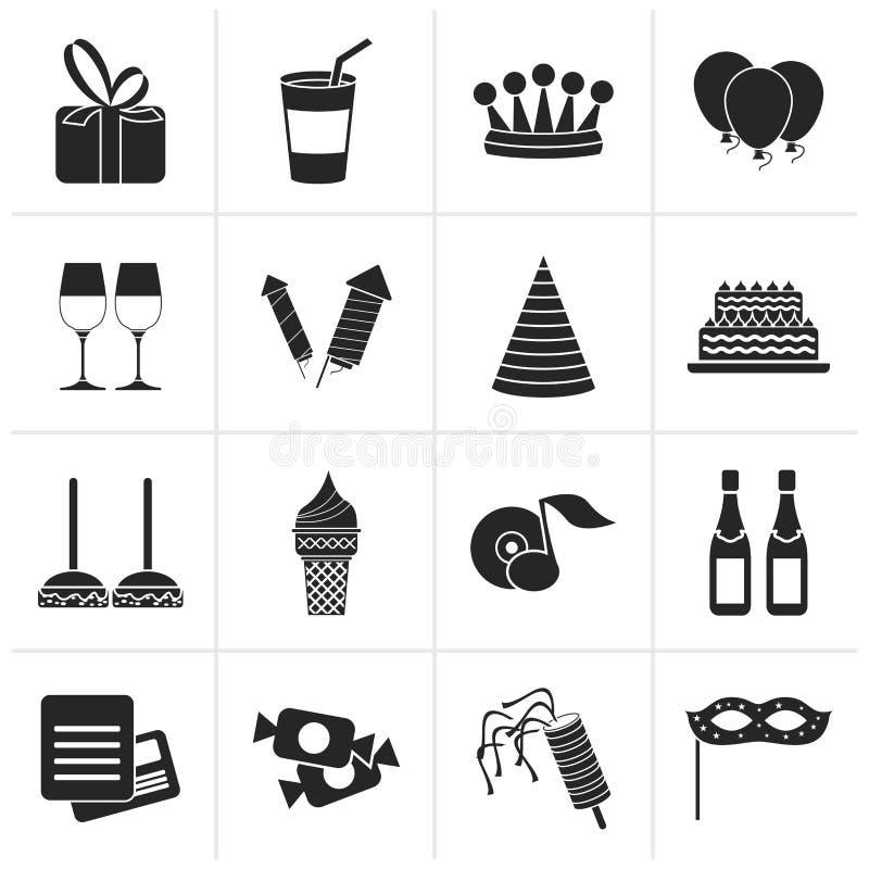Icone nere del partito e di compleanno illustrazione vettoriale