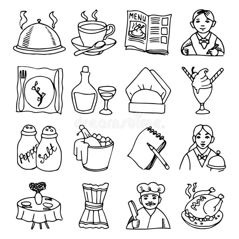 Icone nere del profilo dei piatti del ristorante messe illustrazione di stock