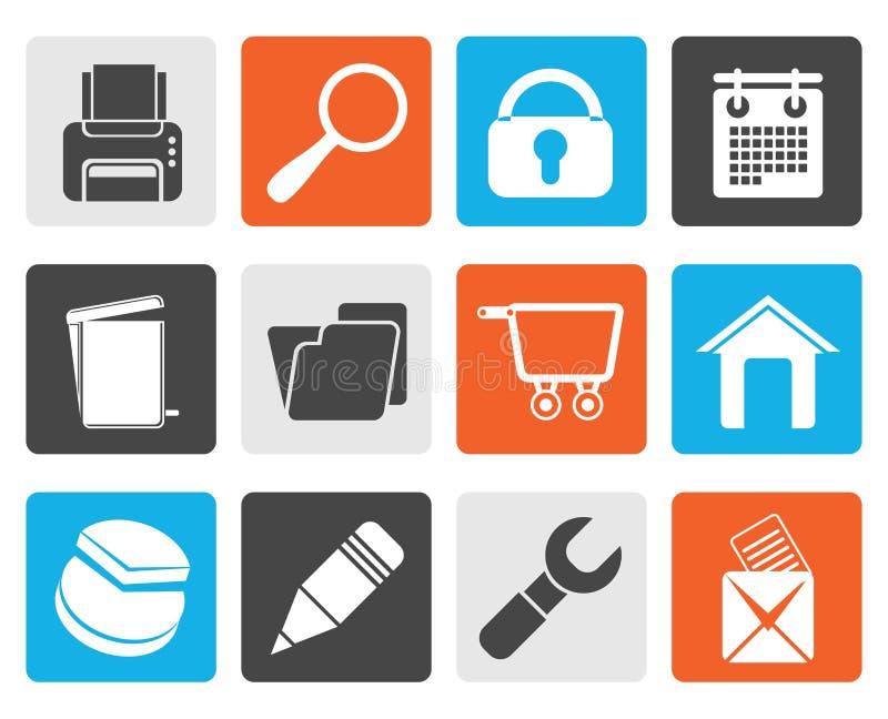 Icone nere del sito Web, di Internet e del computer royalty illustrazione gratis