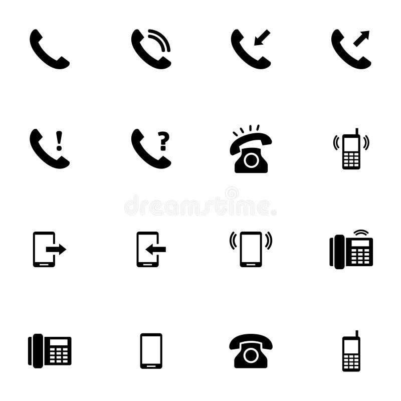 Icone nere del telefono di vettore messe royalty illustrazione gratis