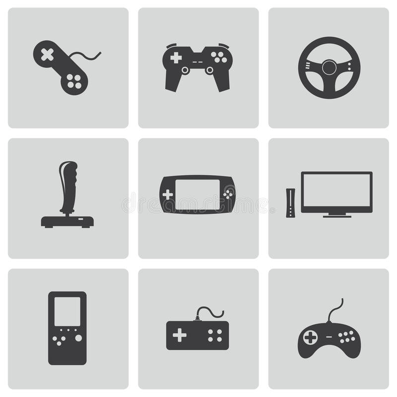Icone nere del video gioco di vettore messe illustrazione di stock