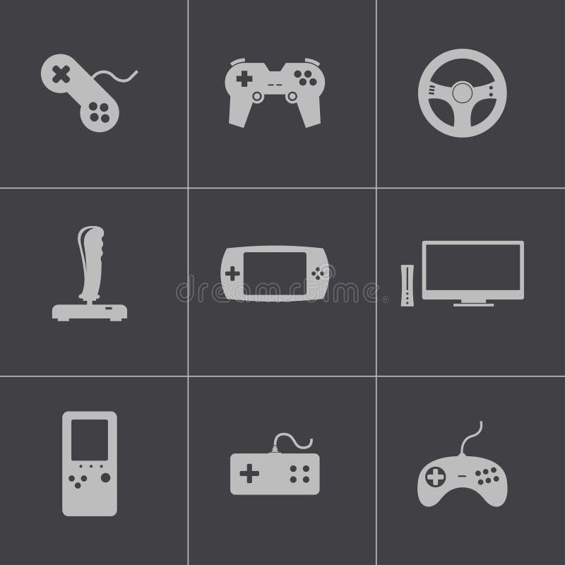 Icone nere del video gioco di vettore messe illustrazione vettoriale