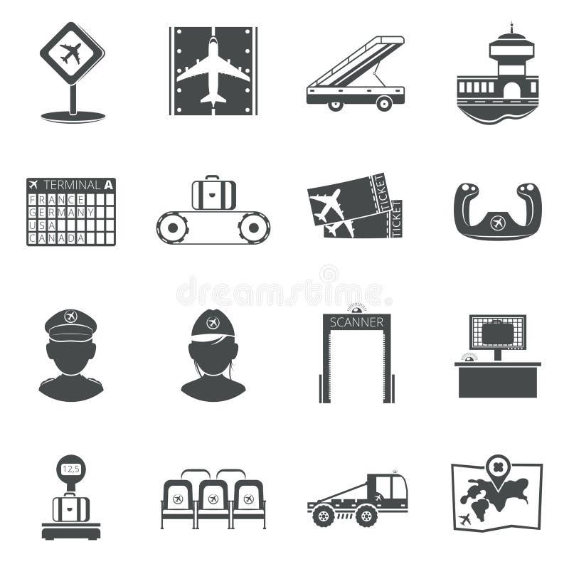 Icone nere dell'aeroporto messe illustrazione vettoriale