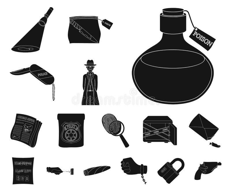 Icone nere dell'agenzia di detective nella raccolta dell'insieme per progettazione Il crimine e la ricerca vector l'illustrazione illustrazione di stock