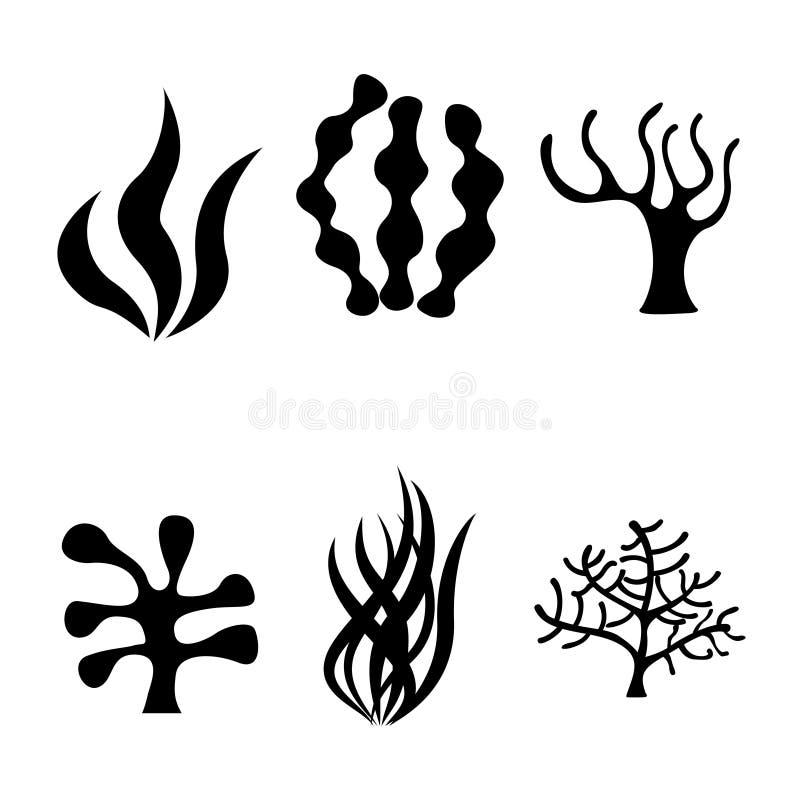 Icone nere dell'alga di vettore messe illustrazione di stock