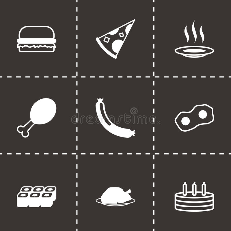 Icone nere dell'alimento di vettore messe royalty illustrazione gratis