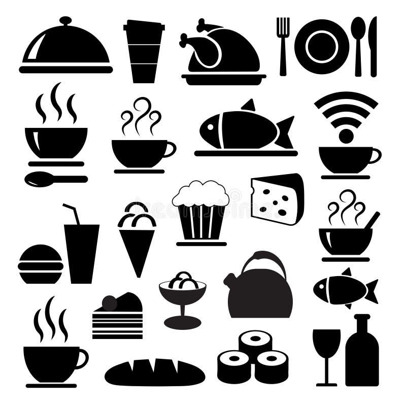 Icone nere dell'alimento messe royalty illustrazione gratis