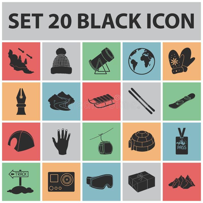Icone nere dell'attrezzatura e della stazione sciistica nella raccolta dell'insieme per progettazione Web delle azione di simbolo illustrazione vettoriale