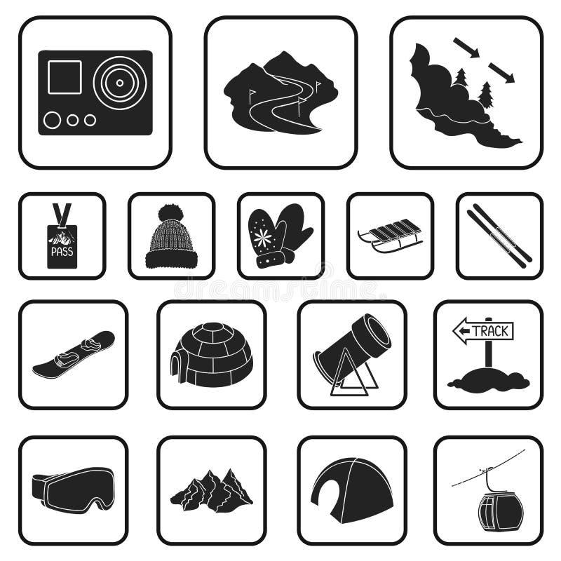 Icone nere dell'attrezzatura e della stazione sciistica nella raccolta dell'insieme per progettazione Web delle azione di simbolo illustrazione di stock