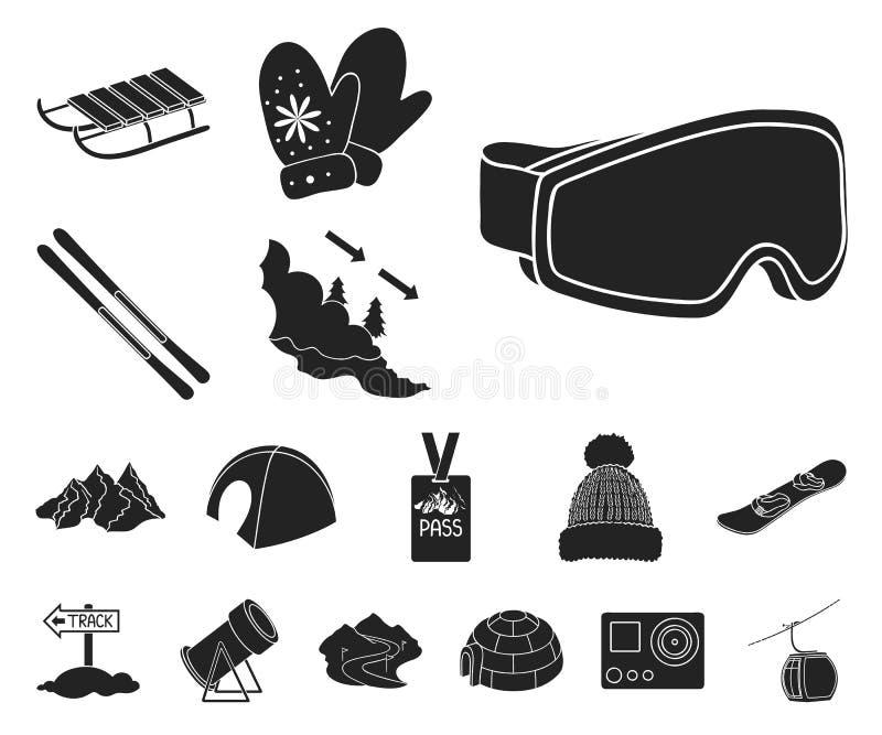 Icone nere dell'attrezzatura e della stazione sciistica nella raccolta dell'insieme per progettazione Web delle azione di simbolo royalty illustrazione gratis