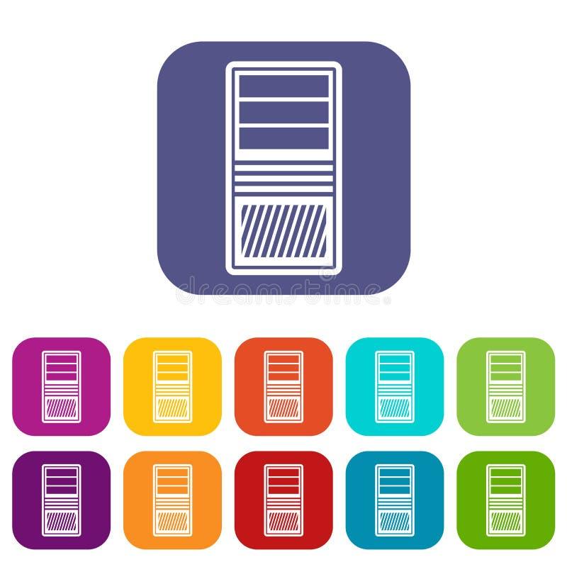 Icone nere dell'unità del sistema informatico messe illustrazione di stock