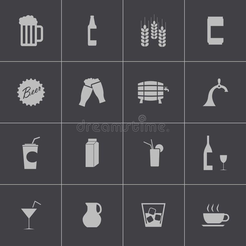 Icone nere della birra e della bevanda di vettore messe royalty illustrazione gratis