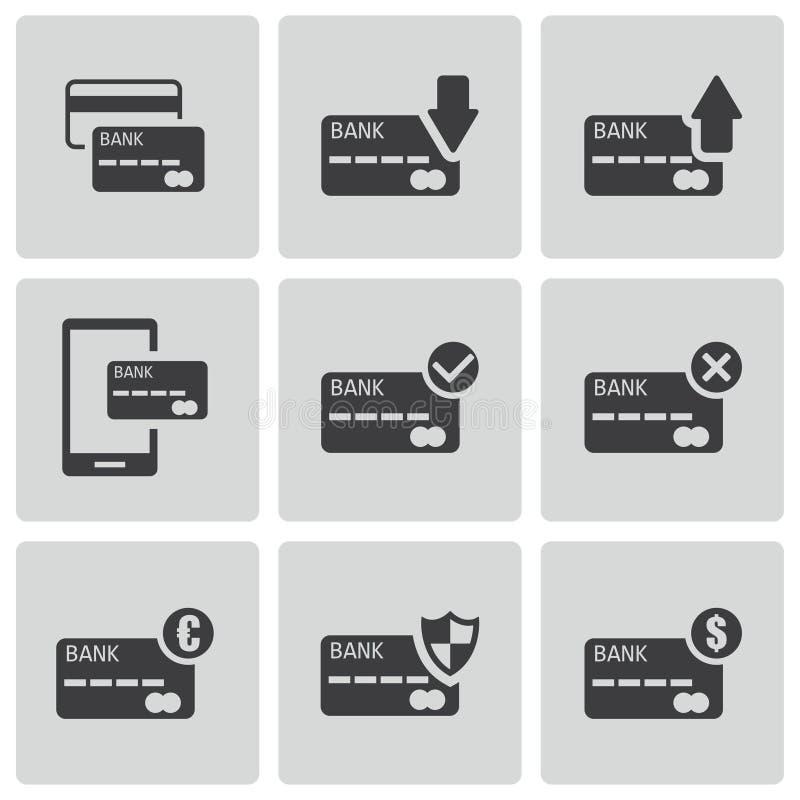 Icone nere della carta di credito di vettore messe illustrazione vettoriale