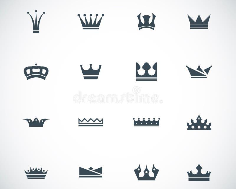 Icone nere della corona di vettore royalty illustrazione gratis