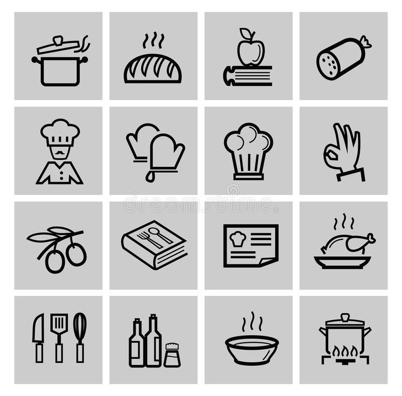 Icone nere della cucina di vettore messe illustrazione di stock