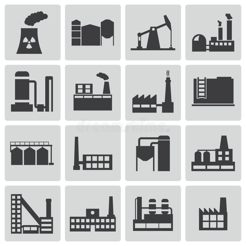 Icone nere della fabbrica di vettore messe illustrazione di stock