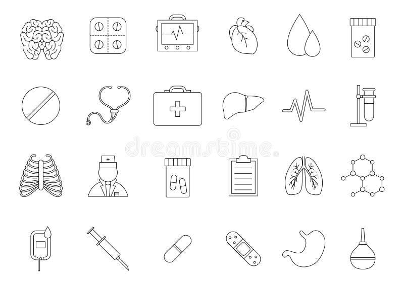 Icone nere della medicina messe illustrazione vettoriale