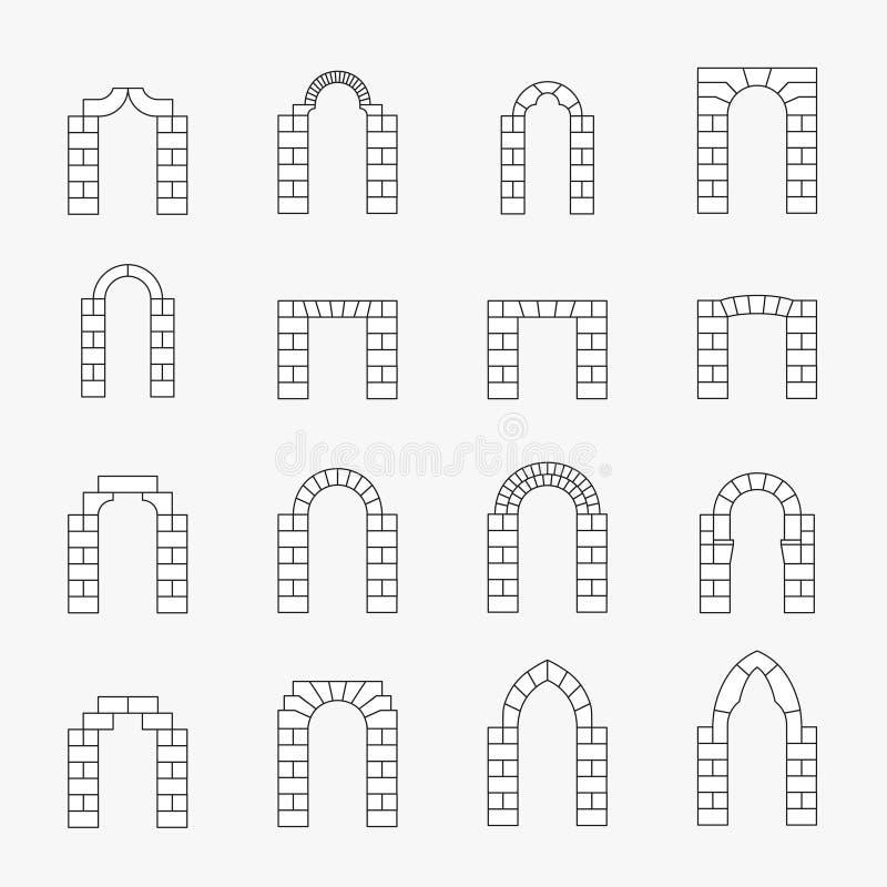Icone nere della siluetta dell'arco di vettore illustrazione di stock