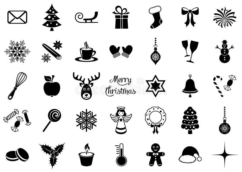 Icone nere della siluetta di natale royalty illustrazione gratis