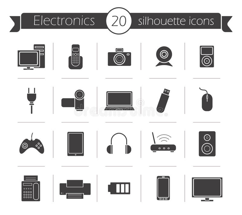 Icone nere della siluetta di prodotti elettronici di consumo messe illustrazione di stock