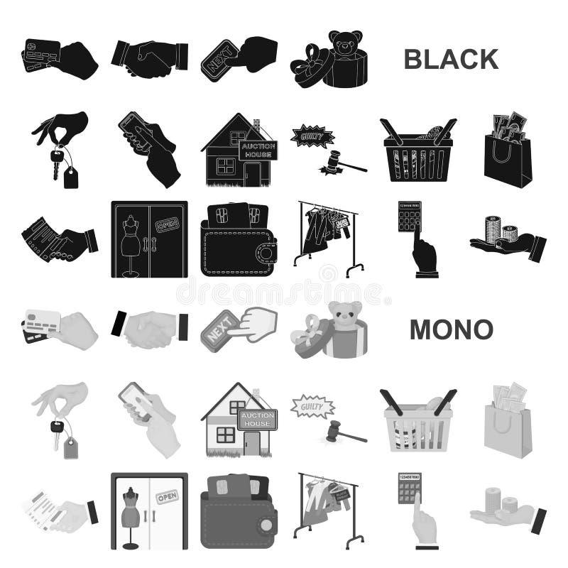 Icone nere di affari e di commercio elettronico nella raccolta dell'insieme per progettazione Comprando e vendendo web delle azio illustrazione di stock