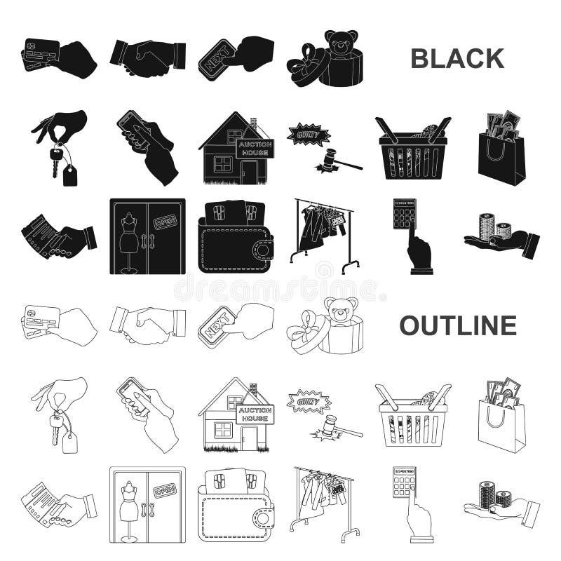 Icone nere di affari e di commercio elettronico nella raccolta dell'insieme per progettazione Comprando e vendendo web delle azio illustrazione vettoriale