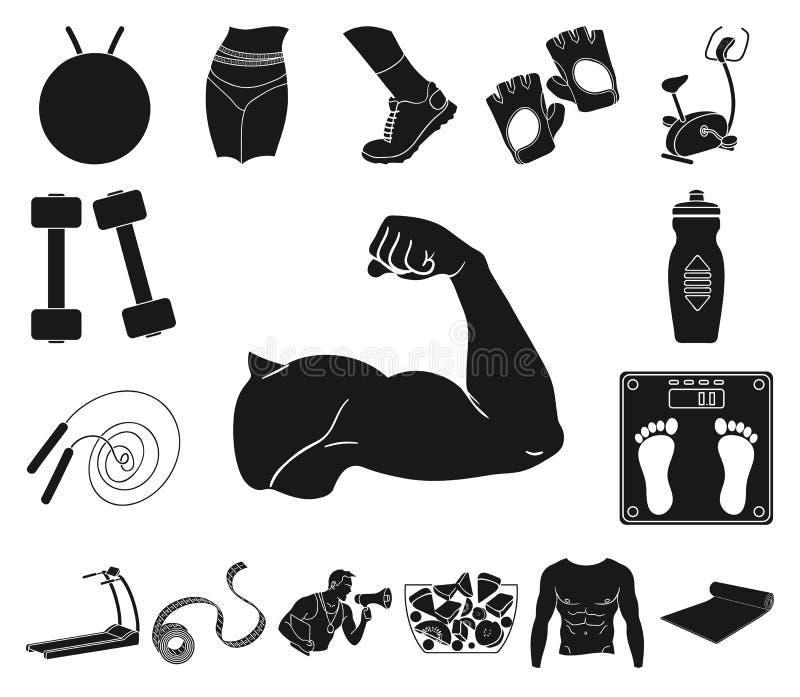 Icone nere di attributi e di forma fisica nella raccolta dell'insieme per progettazione Illustrazione di web delle azione di simb royalty illustrazione gratis