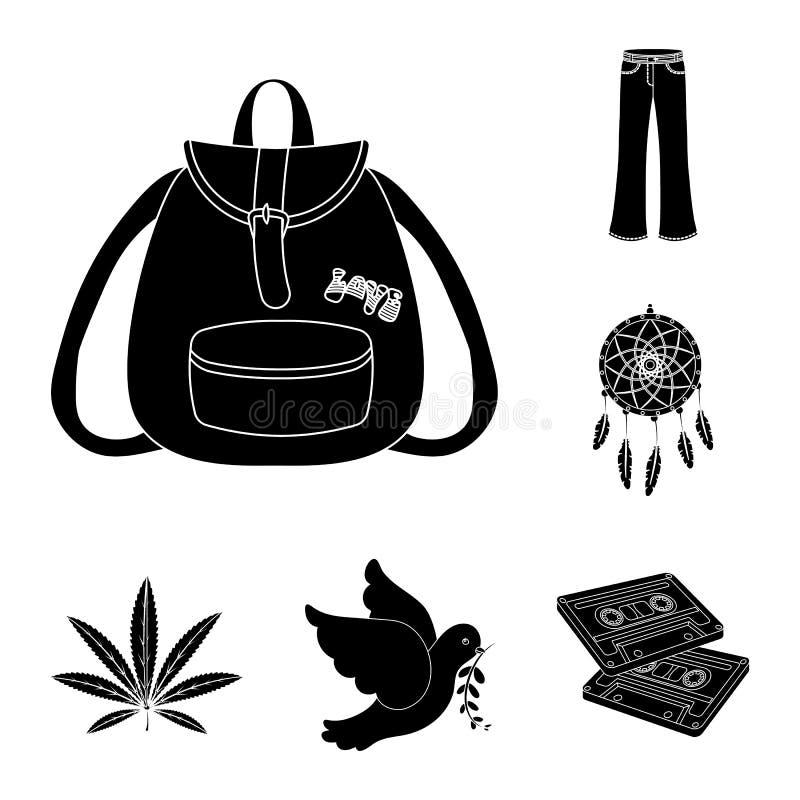 Icone nere di attributo e felici nella raccolta dell'insieme per progettazione Felice ed accessori vector l'illustrazione di rise illustrazione di stock
